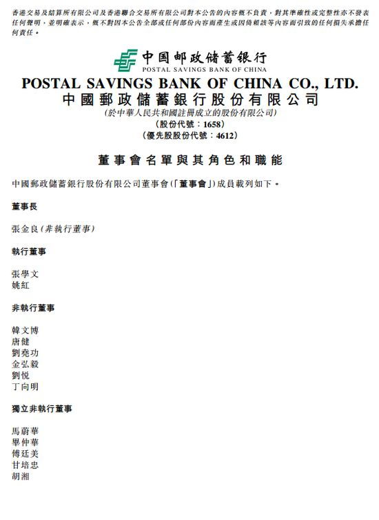 邮储银行董事会名单