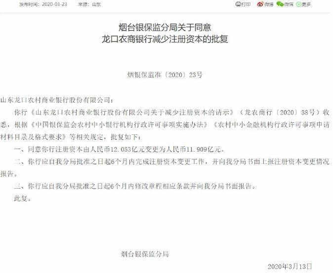 山东龙口农商银行减少注册资本获